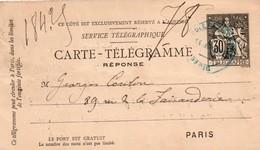 Carte-télégramme Réponse Pneumatique Champain 1908 - Paris école Militaire - Entiers Postaux