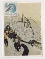 CARTE MAXIMUM CM Card USSR RUSSIA Sport Olympic Games Ski Slalom Art Painting - 1923-1991 URSS