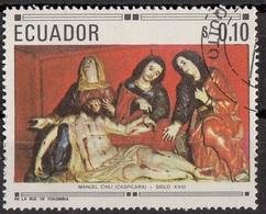 """768 Ecuador 1967 Sc. 768  """"Mourning Of The Death Of Christ""""  Scultura In Legno Di CASPICARA - Cristianesimo"""