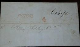 L) 1840 BOLIVA, PRESTAMPS, POTOSI, 4 REALES DE PORTE, TO COBIJA - Bolivia