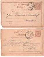 Deutsches Reich 2 Alte Ganzsachen Karten Von 1874 Berlin-Cassel/Zwickau  ( Mängel ) - Briefe U. Dokumente