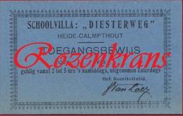 Ticket Toegangskaart Schoolvilla Diesterweg Toegangsbewijs Heide Calmpthout Kalmthout - Tickets D'entrée