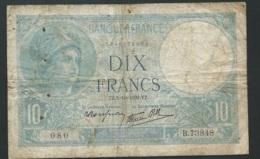 France 10frs 1940 Minerve  - 5/10/1939 - B.73848 - Mauvais état   - Laura 4503 - 1871-1952 Circulated During XXth
