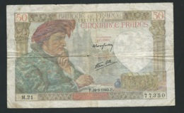 Billet 50 Francs France Jacques Coeur 26-9-1940. F M21 77350 - Mauvais état   - Laura 4504 - 1871-1952 Antiguos Francos Circulantes En El XX Siglo