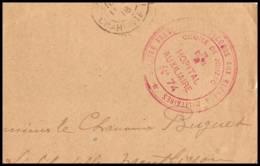 52607 Charente Maritime Jonzac 1918 Hopital Auxiliaire 74 Sante Guerre Fragment De Lettre 1914/1918 War - Postmark Collection (Covers)