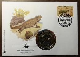 Numisbrief Coin Cover  Turks And Caicos Islands WWF Leguan One Crown  #numis79 - Turks En Caicoseilanden