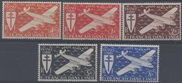 France, Inde : Poste Aérienne N° 1 à 5 X Neuf Avec Trace De Charnière Année 1942 - India (1892-1954)