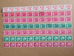Lot Timbres De Roulette En Bande De 10 Avec Un Numéro Rouge  Neuf ** Gomme D'Origine TTB - Roulettes