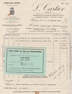 Facture 1949 / L. CARTIER / Vins Du Jura / Arbois Pupillin Etoile / Vin Jaune Château--Châlon / 39 Poligny - France