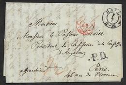 1849 - LAC - HALLE ( SALLE ) A PARIS - Par VALENCIENNES - P.D - Affranchie - Saxe