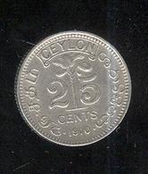 25 Cents Ceylan / Ceylon 1910 - Edouard VII / Edward VII - SUP - Coins