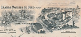 Facture + Traite 1906 / Jules ROD / Grands Moulins De Dôle / 39 Jura - France