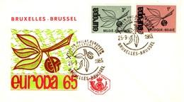 1965 - BELGIO - EUROPA 2v. - BUSTA FDC. - FDC