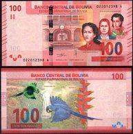 Bolivia 2019 100 Bolivianos. J. Azurduy, A. Calatayud, A. J. De Sucre. Casa De Moneda. Catarata Arcoíris. Paraba Azul. - Bolivia