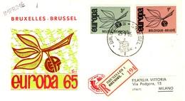 1965 - BELGIO - EUROPA 2v. - BUSTA FDC.raccomandata. - FDC