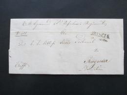 Vorphila 1849 Militärpost Brescia Nach Ragusa Dalmatien An Der Infanterie Regiment. Exoffo. An Das Kreistribunal Ragusa - Österreich