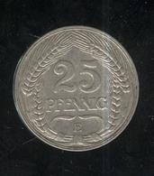 25 Pfennig Empire Allemand / German Empire 1909 E - TTB+ - [ 2] 1871-1918 : Impero Tedesco