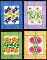 2010 -2013 Latvia -Flowers Of Latvia -4 MS Of 4 Values Each - MNH** Paper - Lettland