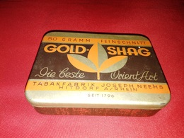 GOLD SHAG TABAKFABRIK JOSEPH NEEHS HITDORF OLD TIN BOX TOBACCO - RARE - Schnupftabakdosen (leer)