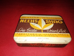 NEEHS SHAG TABAKFABRIK JOSEPH NEEHS HITDORF OLD TIN BOX TOBACCO - RARE - Schnupftabakdosen (leer)