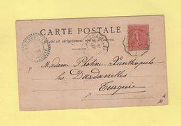 Type Semeuse - 10c Sur Carte Postale Destination Dardanelles Turquie - 1904 - Montpellier - 1921-1960: Modern Period