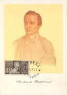 Italia 1955 Maximum Card FDC Centenario Della Morte Di Antonio Rosmini - Theologen