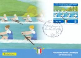 Italia 2018 Maximum Card FDC 130° Anniversario Della Federazione Italiana Canottaggio - Canottaggio