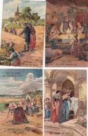 8 RELIEF KAARTEN IN KLEUR GEBED ONZE VADER   1900 - Autres