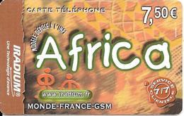CARTE PREPAYEE-IRADIUM-7.5 €-AFRICA-31-12-2005--V°-Code PN° Sur Fond Blanc-en Biais -T BE - France