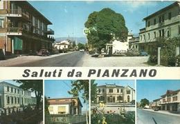 """3220 """"SALUTI DA PIANZANO"""" 5 VEDUTE-DISTRIB. BP-FIAT 1100,500-SIMCA 1000-PASSAGGIO A LIVELLO CART. POST. ORIG. SPED.1984 - Saluti Da.../ Gruss Aus..."""