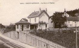 (Jura)  CPA   Saint Lothain  La Gare Et L'eglise ( Bon Etat) - Autres Communes