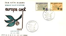 FDC FIRST DAY COVER EUROPA 1965 TURCHIA EUROPA CEPT 27-9-1965. - 1921-... Repubblica