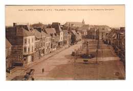 & 35 St Saint Meen Le Grand Vue Générale Place Des Combattants Et De L' Immaculée Conception Cpa Carte Animée - France