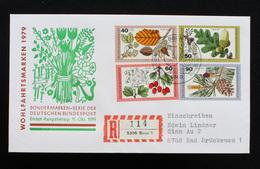 """FDC Bund, BRD, Mi.-Nr. 1024-1027, Ersttagsbrief """"Wohlfahrtsmarken 1979 - Blätter, Blüten Und Früchte Des Waldes"""" - BRD"""