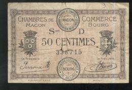 Billet 50 Centimes Chambre De Commerce De Macon Et Bourg - Remboursement 1920 - Bons & Nécessité