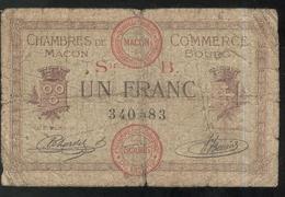 Billet 1 Franc Chambre De Commerce De Macon Et Bourg - Remboursement 1920 - Bons & Nécessité
