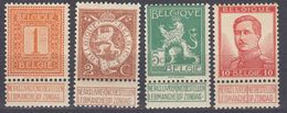 BELGIE - BELGIQUE - 1912/1913 - Lotto Composto Da 4 Valori Nuovi MNH: Yvert 108, 109, 110 E 123. - 1912 Pellens