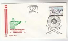 1978 Hochfilzen FDC BIATHLON Special Pmk Cover Skiing Ski Shooting  Gun Sport Austria - Skiing