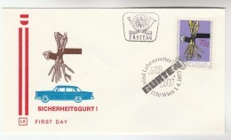 1975 Austria SEAT BELT Road Safety FDC SPECIAL Pmk Cover CAR , Stamps - FDC