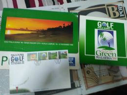 Malaysia 1999 MS MNH Golf With Book Photo Complete With Folder & FDC Rare Item - Malaysia (1964-...)