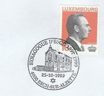 1999 D'ESCH SYNAGOGUE EVENT COVER Anniv Synagogue LUXEMBOURG  , Religion Jewish Judaica Jew Stamps - Covers & Documents