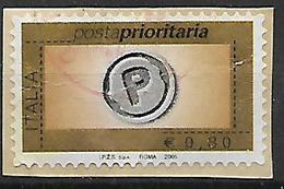 ITALIA  REPUBBLICA 2005-06 POSTA PRIORITARIA SASS. 2845 USATO SU FRAMMENTO VF - 2001-10: Usati