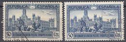 SPAGNA - SPAIN - ESPAGNE - 1931 - Lotto Composto Da 2 Valori Usati Di Posta Aerea: Yvert 87 E 87a (errore Di Colore). - Usati