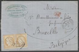 Creuse:  G.C.211 Sur N°59(paire) + CàD AUBUSSON(22) De 1873 Sur LAC Pour La Belgique - Marcophilie (Lettres)