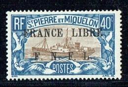 1941  Châlutier 40 Cent Surchargé «FRANCE LIBRE / F.N.F.L.» Yv 237 *  MH - St.Pierre & Miquelon