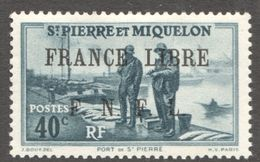Surcharge «FRANCE LIBRE / F. N. F. L. »  Sur 40 Cent Port De St-Pierre  Y&T 255 * MH - St.Pierre & Miquelon