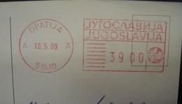 EMA. 1. Empreinte Machine Vers La Belgique Sur CP De Pozdrav Iz Opatije. 1989 - 1945-1992 République Fédérative Populaire De Yougoslavie