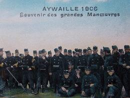BELGIQUE BELGIE Cap Postcard - AYWAILLE 1906 - Souvenir Des Grandes Manoeuvres - Militaire - Armée #1/4 - Aywaille