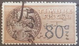 NO11 #48 - Lebanon 1927 4 Ps On 80c Bistre Fiscal Revenue Stamp, R & L Are Space Wider - Lebanon