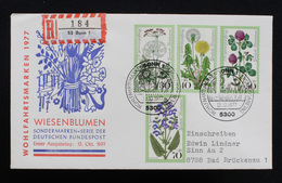 """FDC Bund, BRD, Mi.-Nr. 949-952, Ersttagsbrief """"Wohlfahrtsmarken 1977 - Wiesenblumen"""" - FDC: Brieven"""